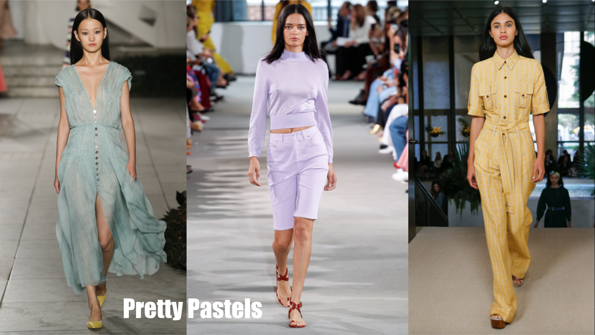 Seen at Carolina Herrera/ Tibi /Derek Lam Color trend alert: pastels are a go for spring. We saw a sprinkling of these light and lovely colors throughout different shows this week, especially at Victoria Beckham who's whole collection was practically all pastel. Don't get ready to say goodbye to millennial pink just yet.
