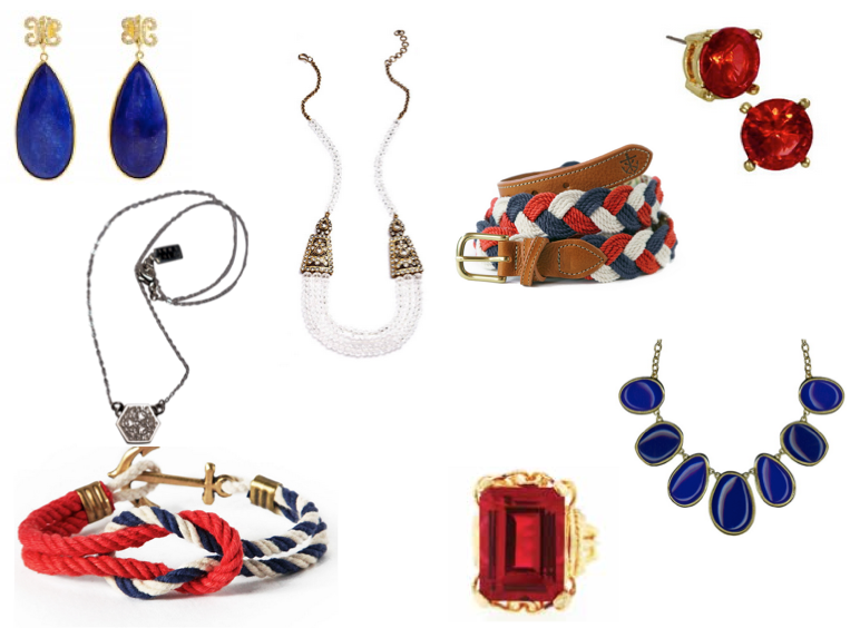 red, white, and blue accessories