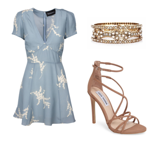 floral dresses and skirts,strappy sandals and glam gold bangles