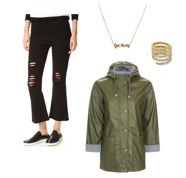 olive rain coat, black pants, gold jewelry, necklace and ring