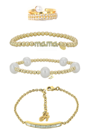 baguette bar bracelet / pearl becklette / mama becklette / gold ring
