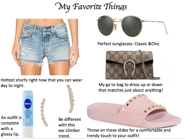 Shop my Favorites:  Shorts Sunglasses Bag Slides Earrings Chapstick